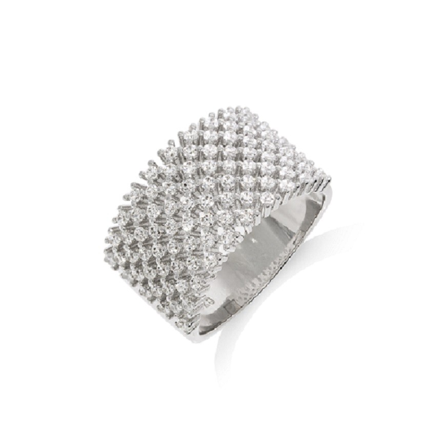 925 Sterling Silver Rhodium Plated Ring Filled with CZ Stones