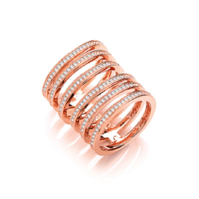 925 Sterling Silver Rose Gold Plated Ring with Flexible Arch Spine