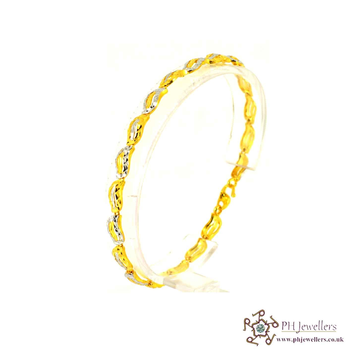 22ct 916 Hallmark Yellow Gold Rhodium Bracelet LB16