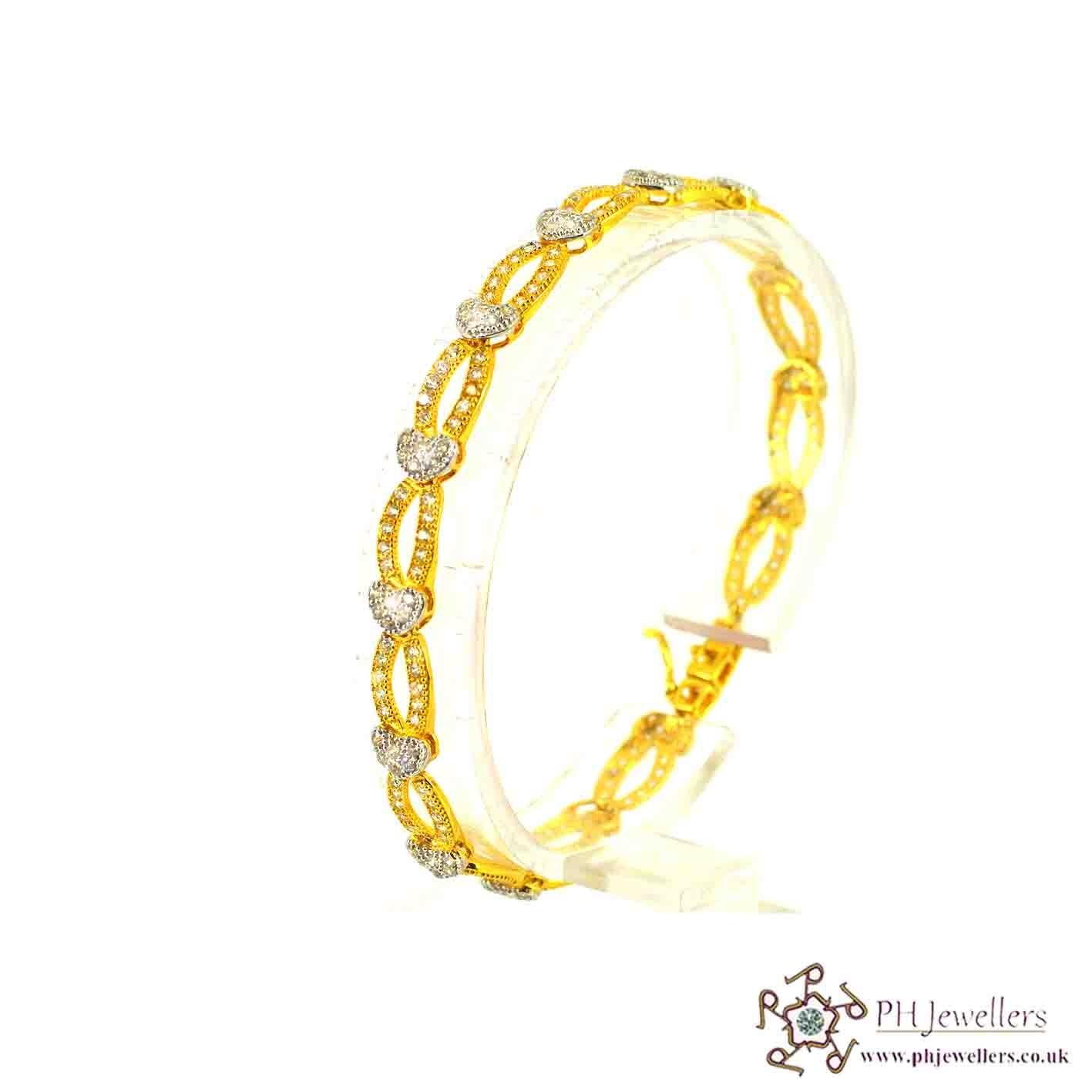 22ct 916 Hallmark Yellow Gold Bracelet CZ LB20