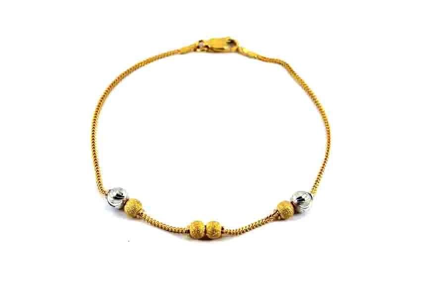 22ct 916 Indian Yellow Gold Ladies Ball with Rhodium Bracelet  LB71