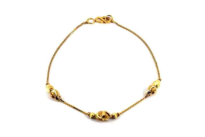 22ct 916 Indian Yellow Gold Light Ladies Ball Bracelet LB75