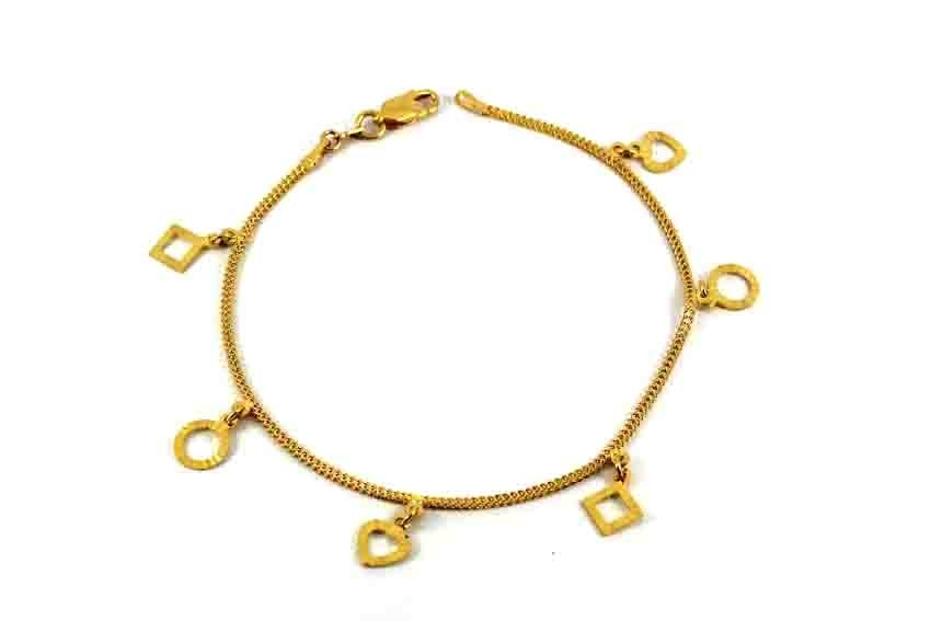 22ct 916 Indian Yellow Gold Ladies Charm Bracelet  LB76