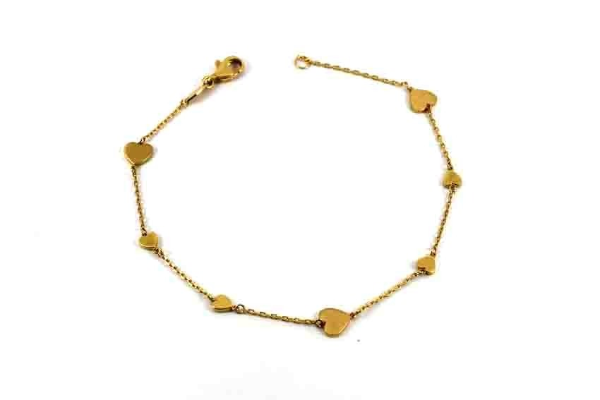 22ct 916 Indian Yellow Gold Light Ladies Heart Charm Bracelet  LB78