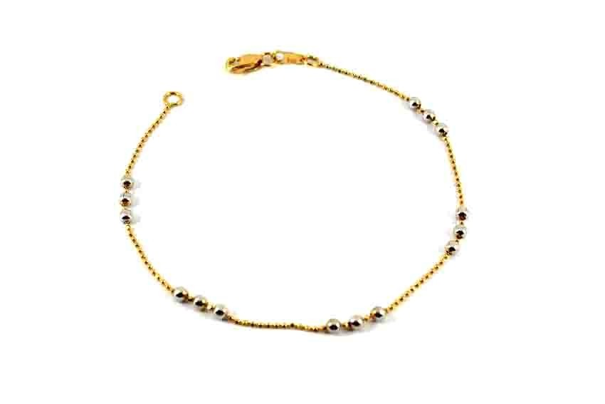 22ct 916 Indian Yellow Gold Ladies Ball with Rhodium Bracelet  LB79