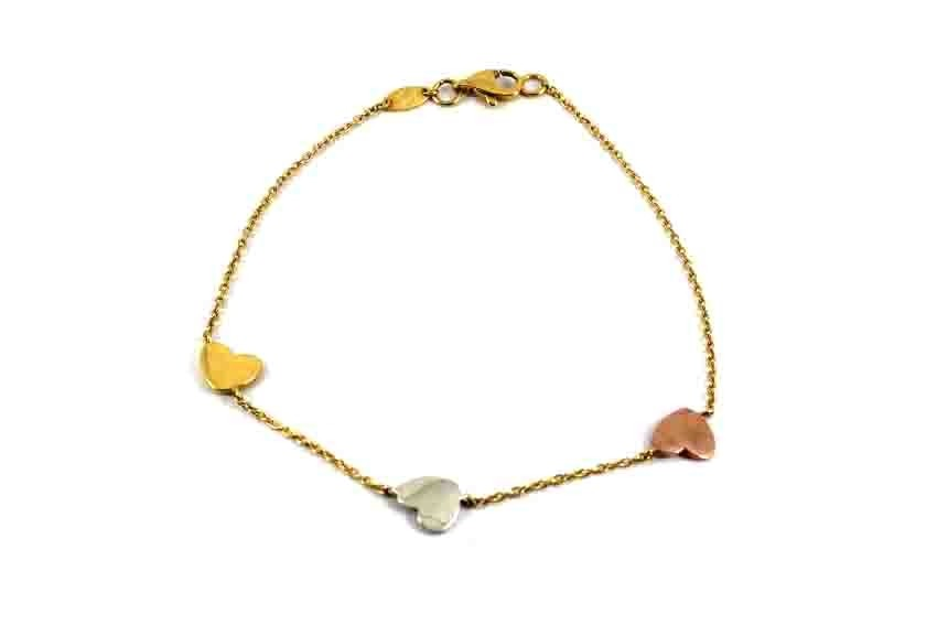 22ct 916 Indian Yellow Rose Rhodium Gold Light Ladies Heart Charm Bracelet  LB80