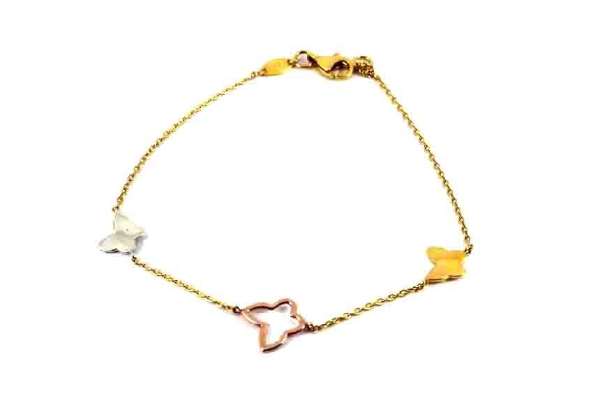 22ct 916 Indian Yellow Rose Rhodium Gold Light Ladies Butterfly Charm Bracelet  LB81