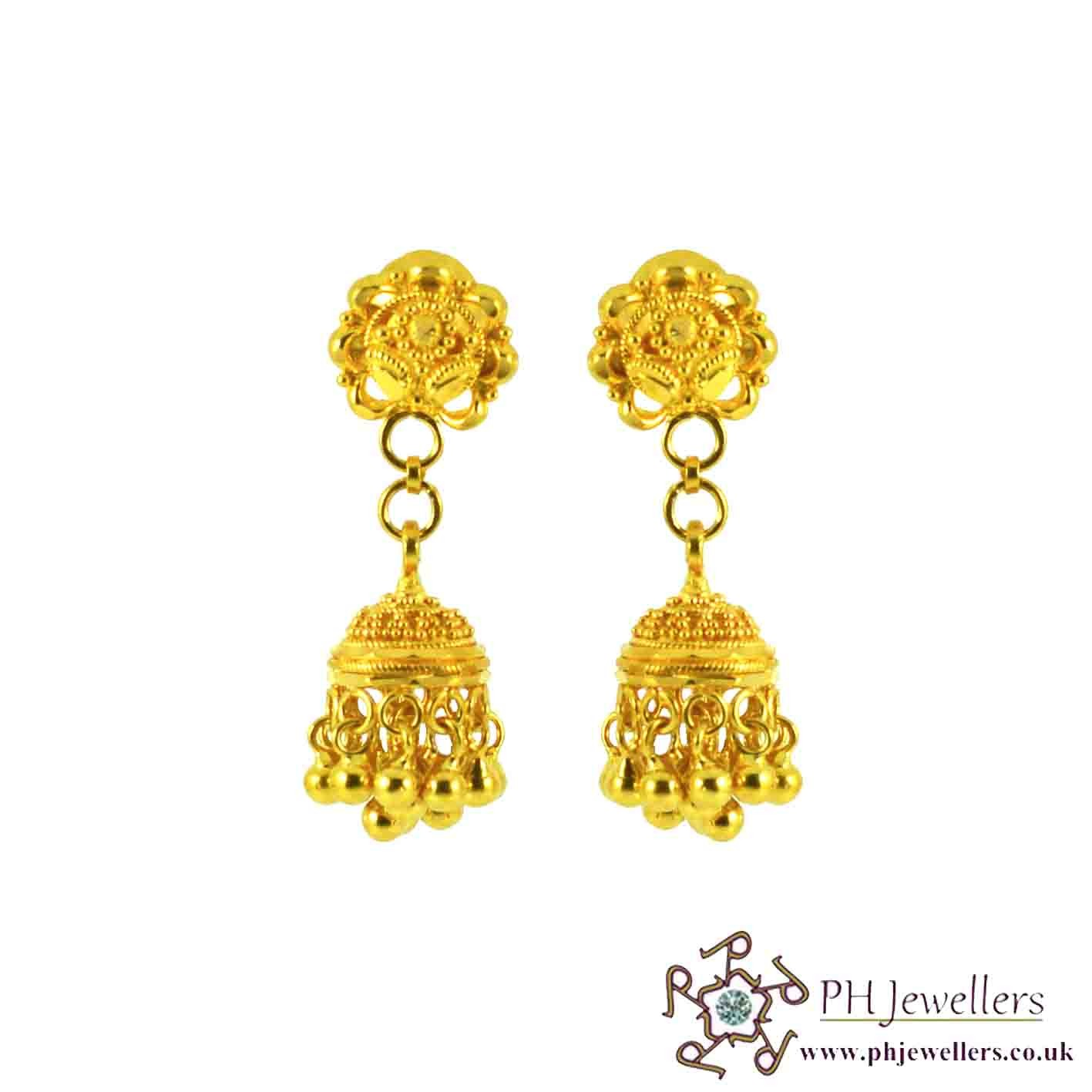jewellery drop earrings indian peacock wm gold
