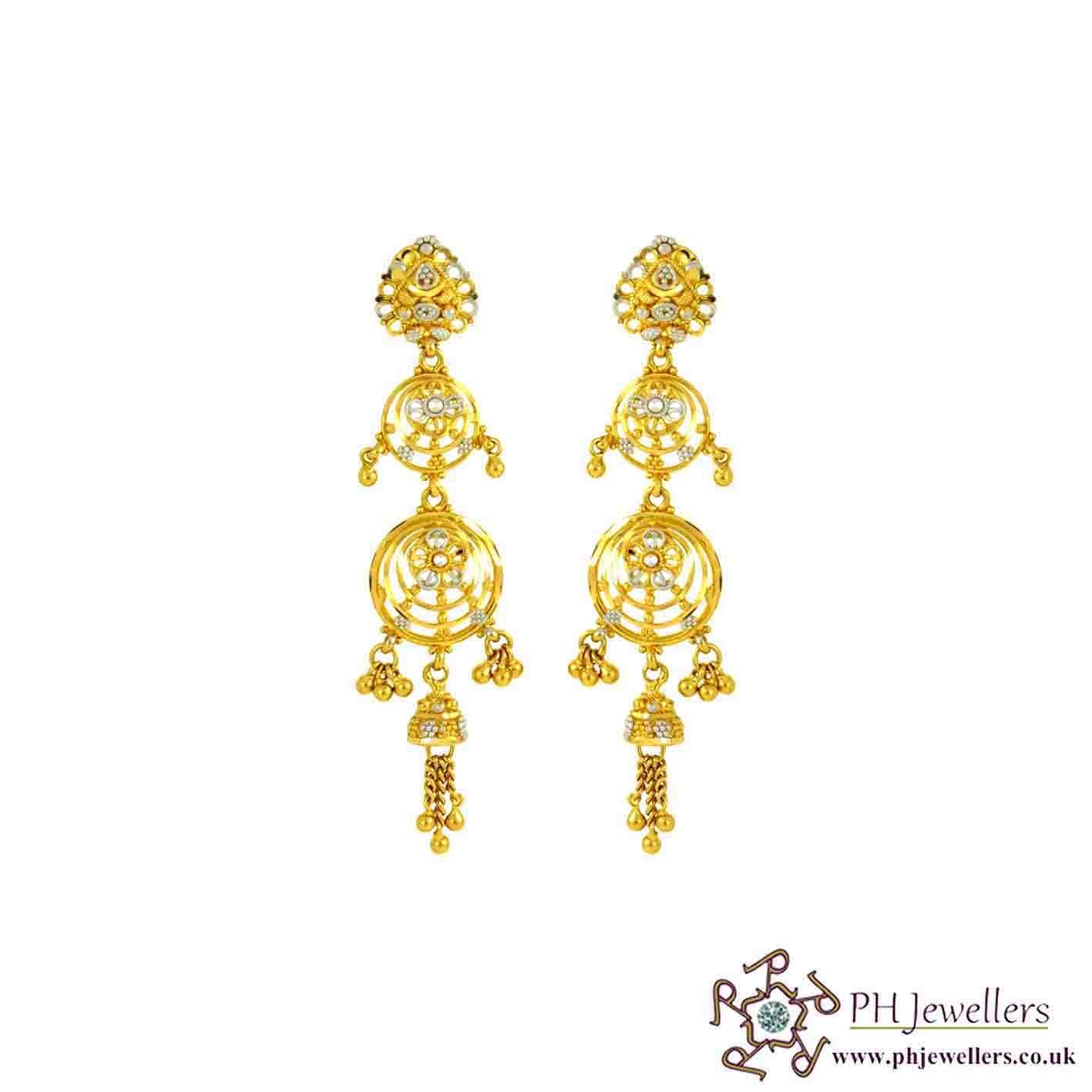22ct 916 Hallmark Yellow Gold chandelier Earring LE28