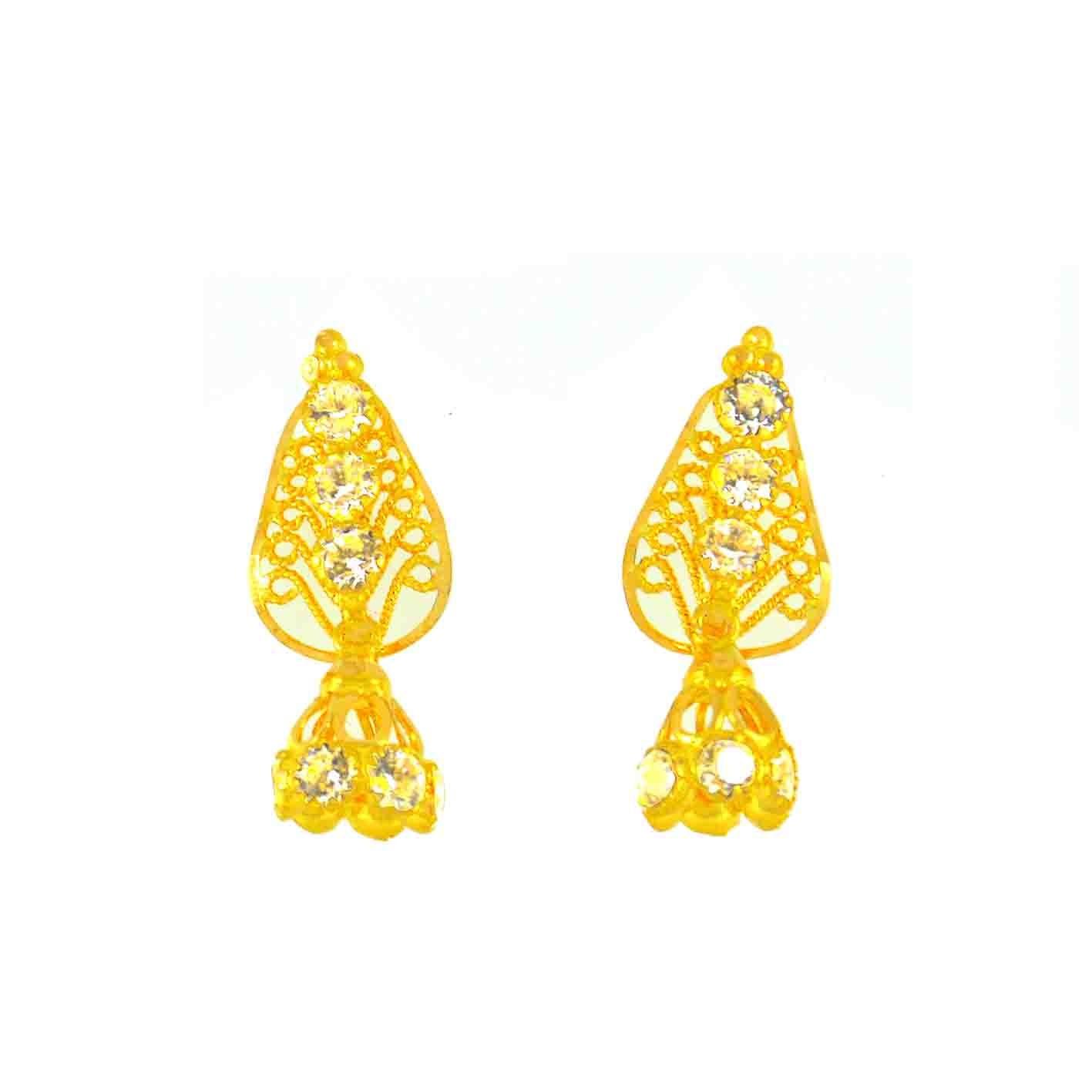 22ct 916 Hallmark Yellow Gold Dangling Earrings CZ LE7