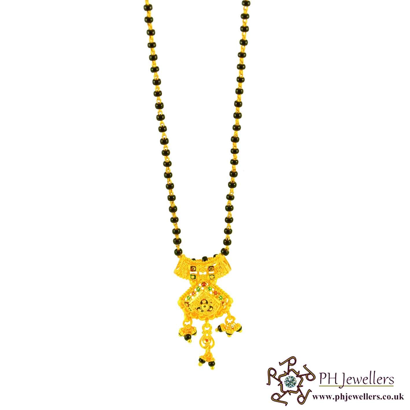 22ct 916 Hallmark Yellow Gold Black Bead Chain Mangalsutra MS1