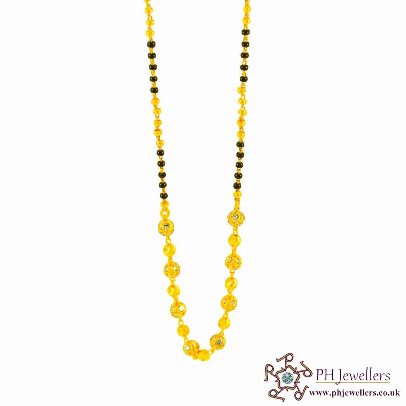 22ct 916 Hallmark Yellow Gold Black Bead Chain Mangalsutra MS2