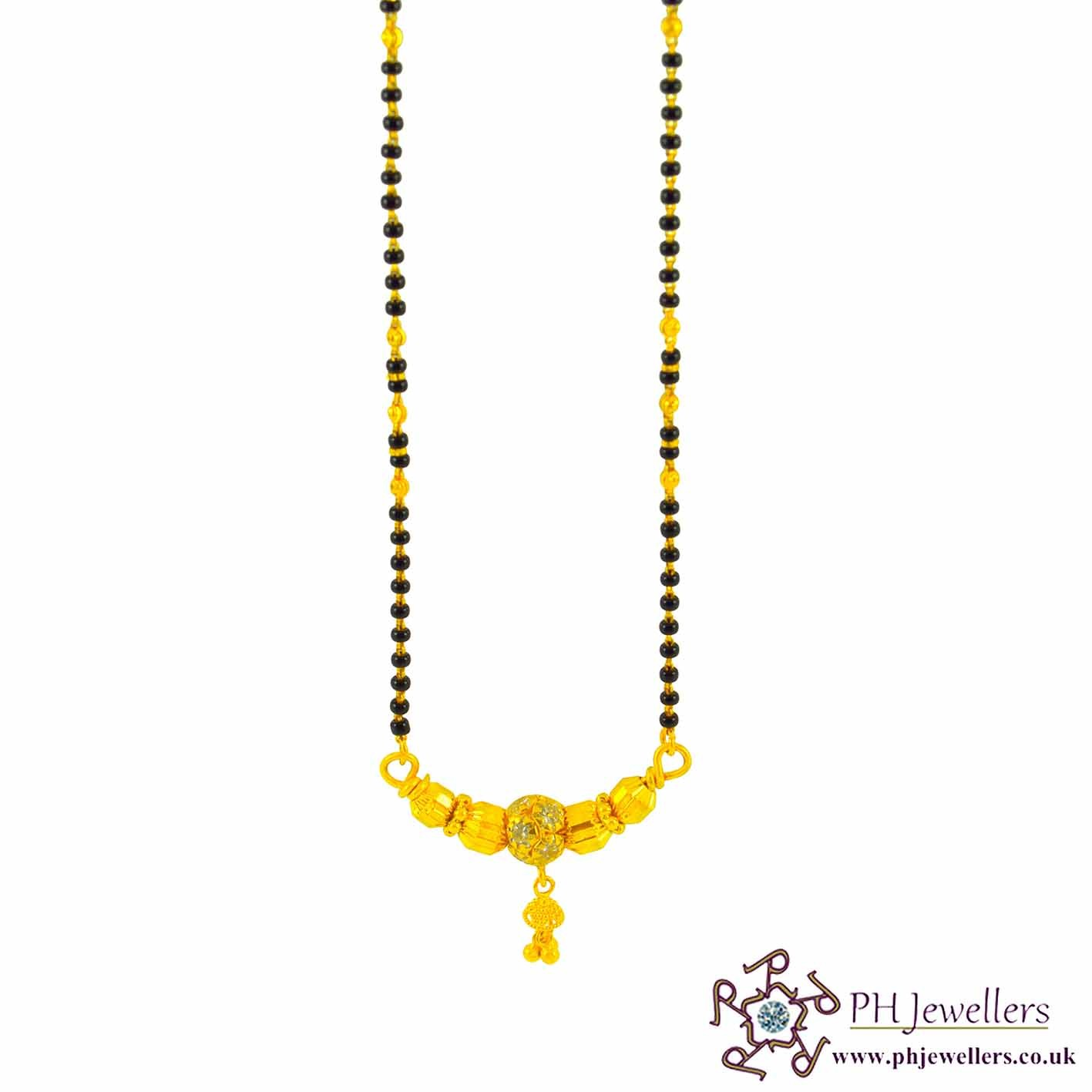22ct 916 Hallmark Yellow Gold Black Bead Chain Mangalsutra CZ MS3