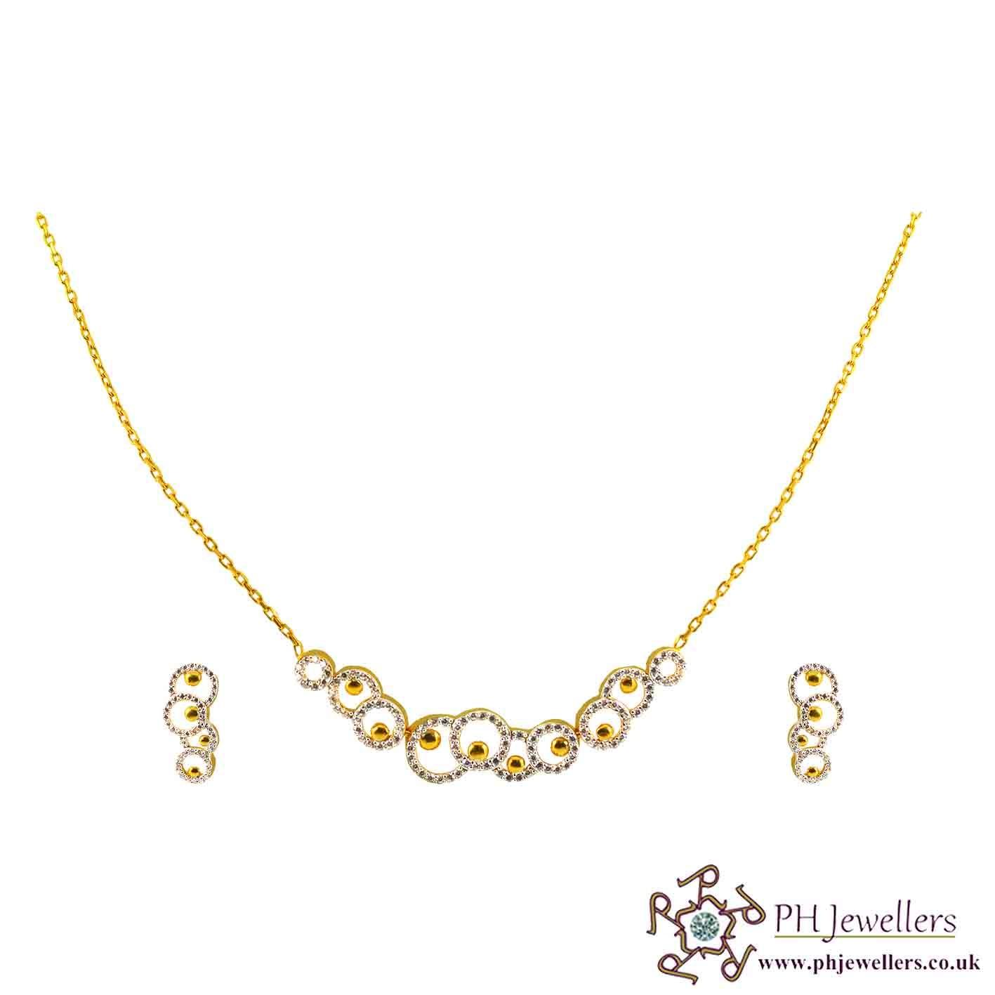 22ct 916 Hallmark Yellow Gold Necklace Set CZ NCK2