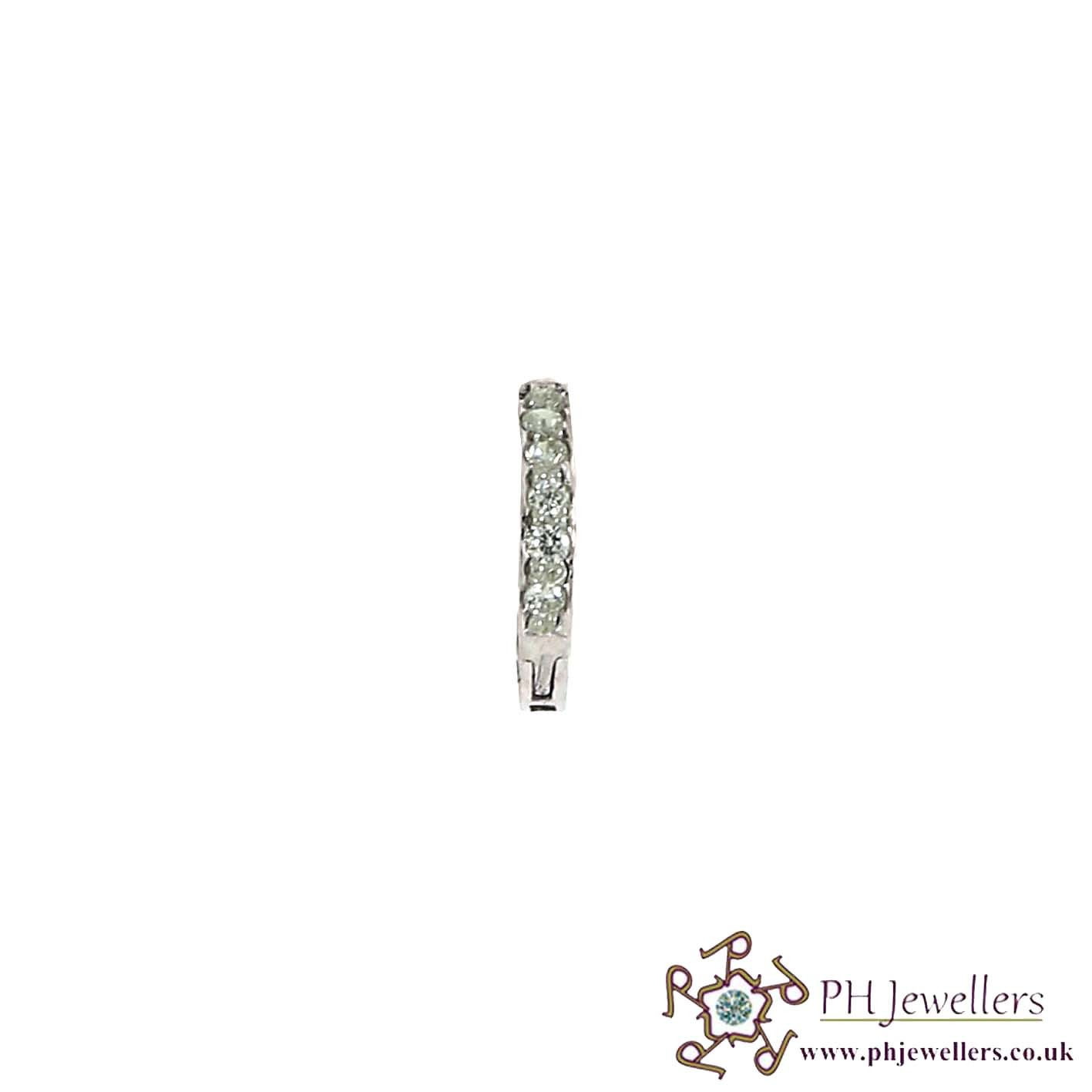 18CT 750 White Gold Nose Ring Nose Stud CZ NSR2