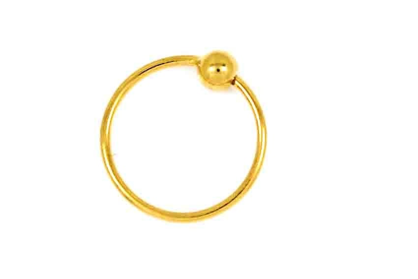 22CT  Asian Indian Yellow Gold Round Nose Ring NSR4