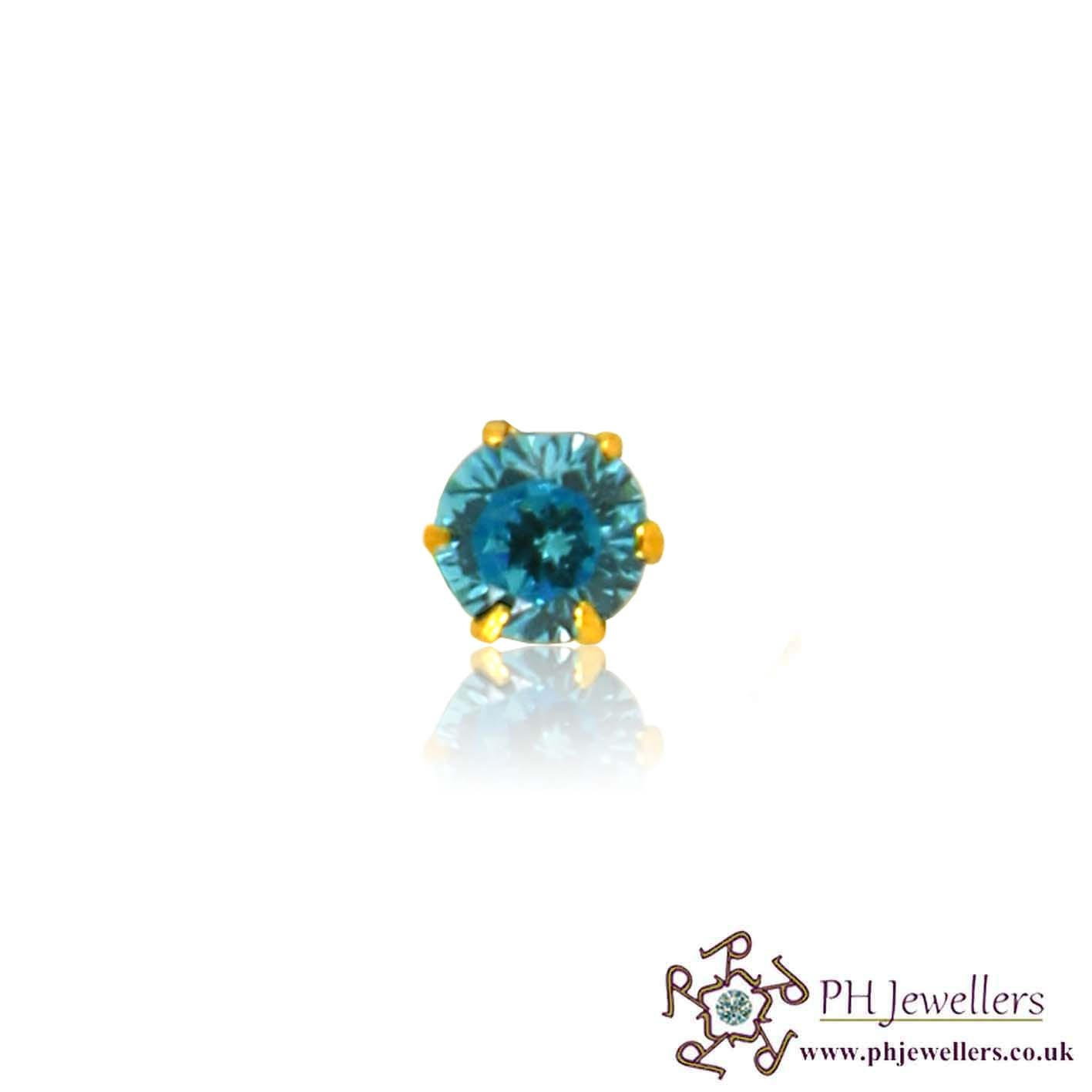 22ct 916 Yellow Gold Screw Nose Stud Turquoise firoza CZ NSS10
