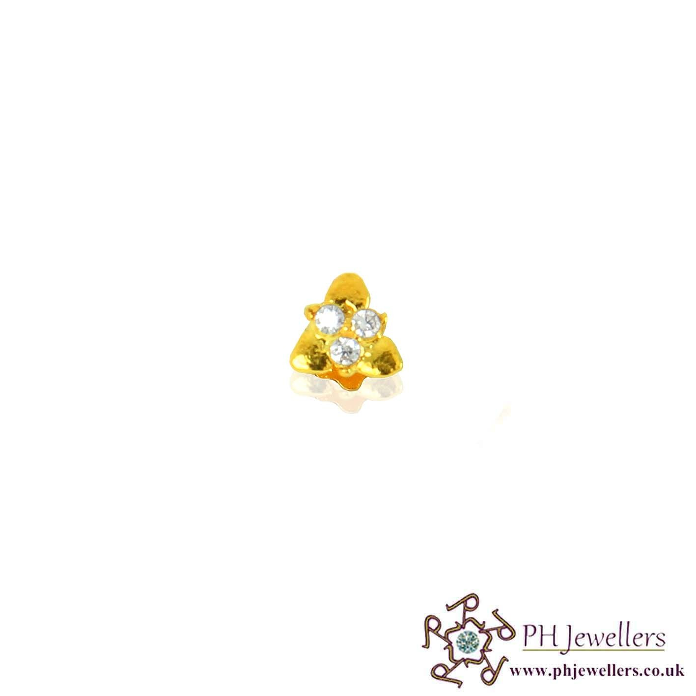 22ct 916 Yellow Gold Triangle Screw Nose Stud CZ NSS12