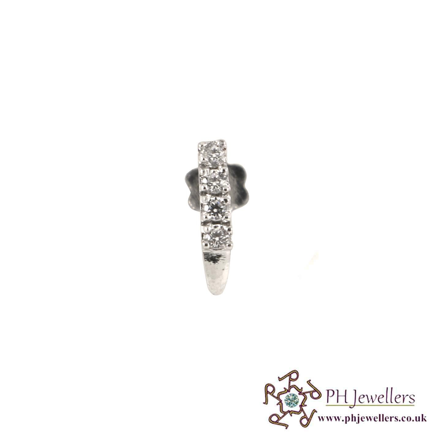 18CT 750 White Gold Nose Stud CZ NSS14