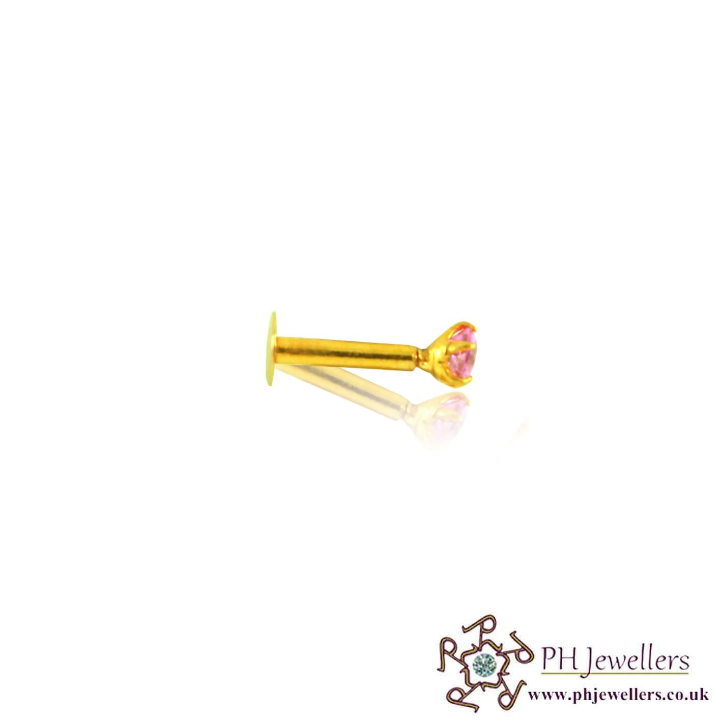 22ct 916 Yellow Gold Screw Nose Stud Light Pink CZ NSS15