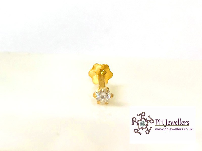 22ct 916 Yellow Gold Screw Nose Stud White CZ NSS16