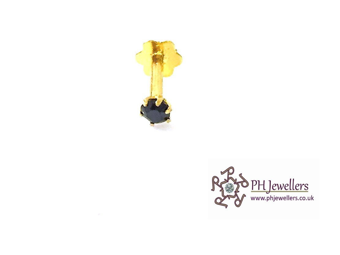 22ct 916 Yellow Gold Screw Nose Stud Black CZ NSS17