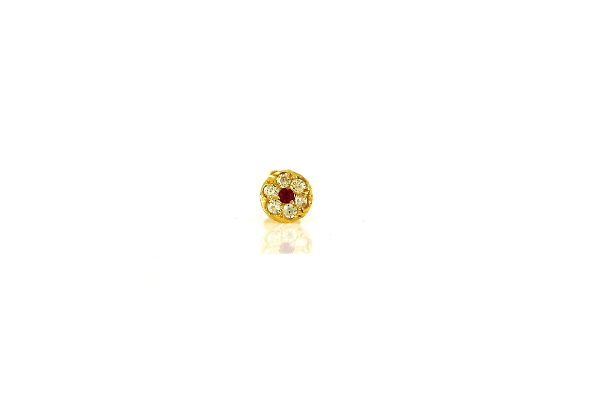 22ct 916 Yellow Gold Round White and Pink Screw Nose Stud  NSS20
