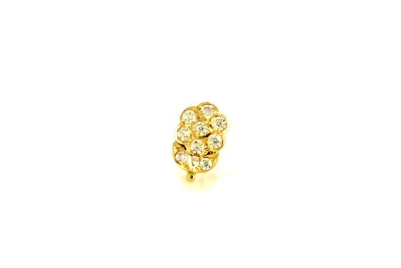 22ct 916 Yellow Gold Flower with Leave Screw Nose Stud with CZ Stones  NSS23