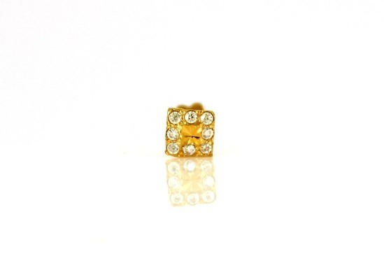 22ct 916 Yellow Gold Square Screw Nose Stud with CZ Stones  NSS24