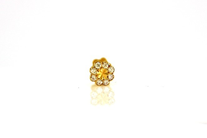 22ct 916 Yellow Gold Round Screw Nose Stud with CZ Stones  NSS24
