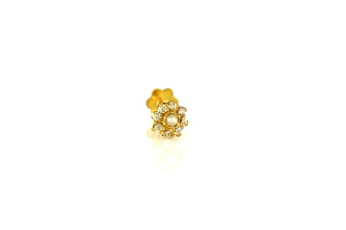 22ct 916 Yellow Gold Round Screw Nose Stud with Pearl and CZ Stones  NSS26