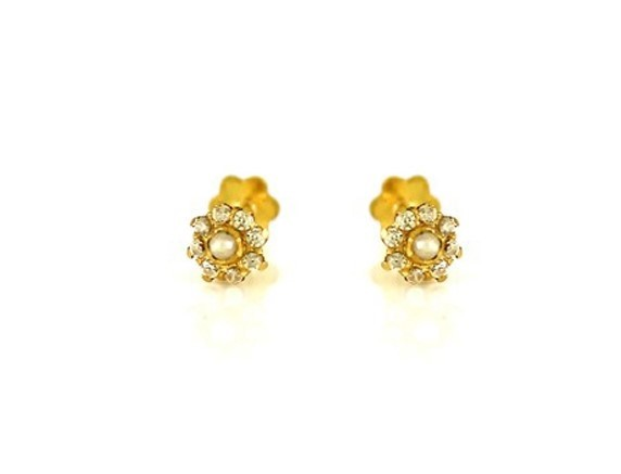 22ct 916 Yellow Gold Round Small Kids Baby Earrings with Pearl CZ SE80