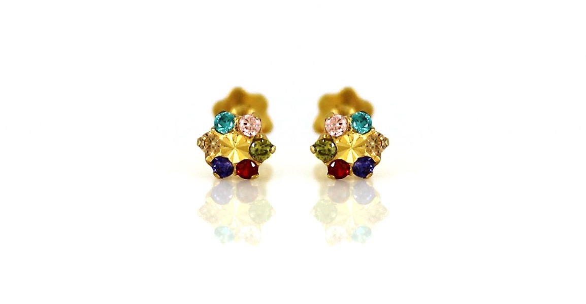22ct 916 Yellow Gold Round Kids Screw Multi colour with CZ Stones Earrings SE81