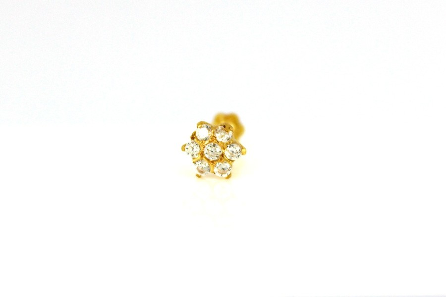22ct 916 Yellow Gold Round Screw with White CZ Stones  NSS28