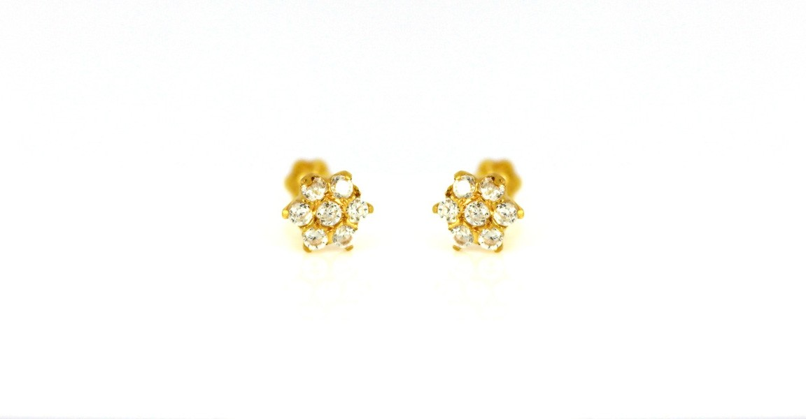 22ct 916 Yellow Gold Round Small Kids Baby CZ Stones Earrings SE82