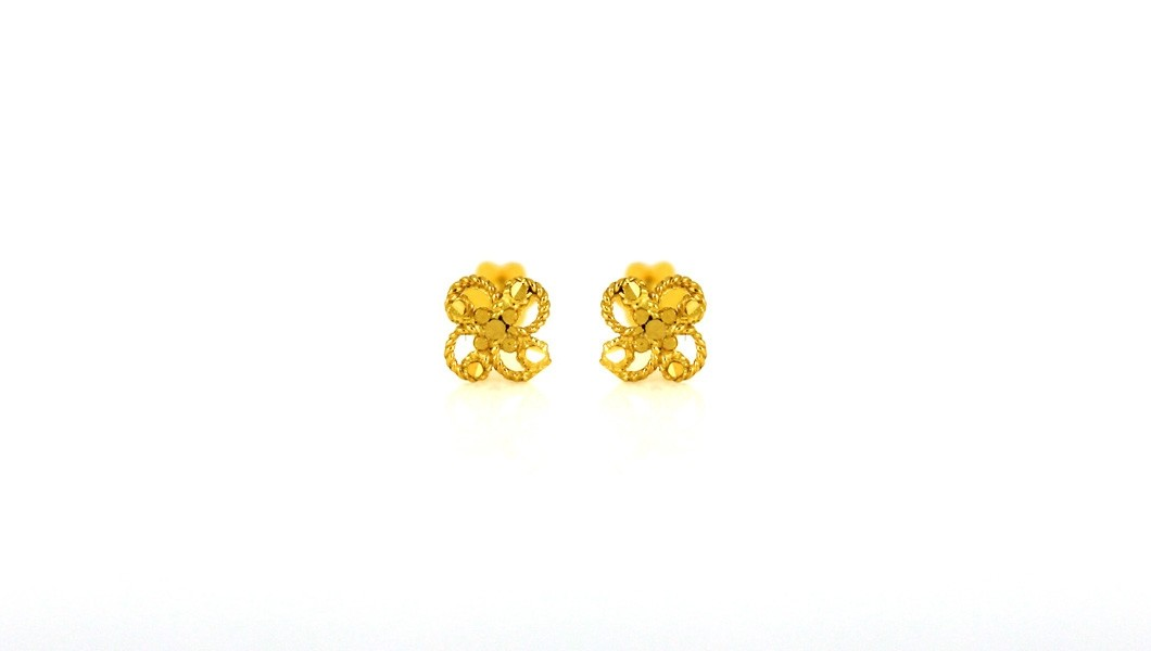 22ct 916 Yellow Gold Round Flower Small Kids Baby Earrings SE83