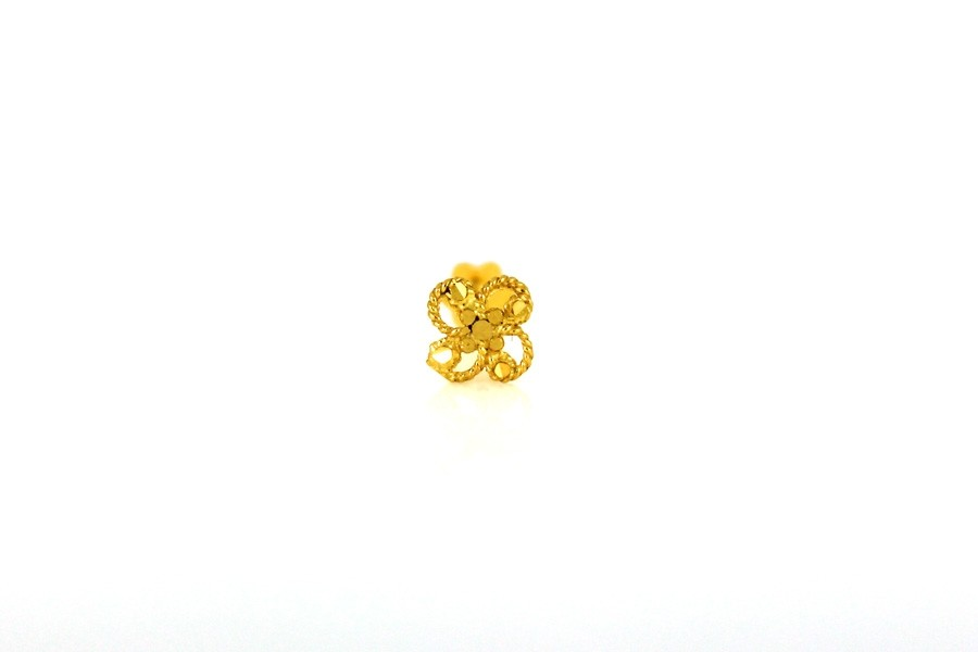 22ct 916 Yellow Gold Flower  Screw Nose Stud  NSS29