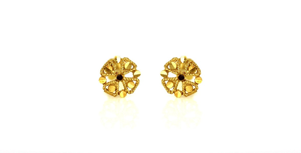 22ct 916 Yellow Gold Round Small Kids Baby Earrings SE84