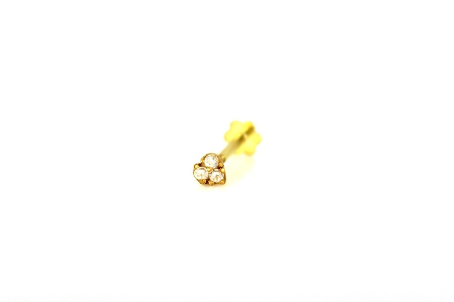 22ct 916 Yellow Gold Triangle Screw with White CZ Stones  NSS34