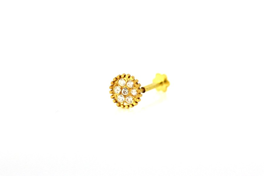 22ct 916 Yellow Gold Round Screw with White CZ Stones  NSS35