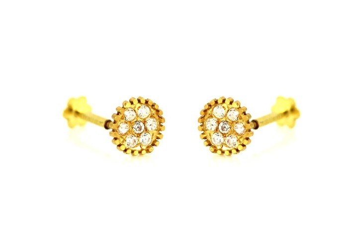 22ct 916 Yellow Gold Round Small Kids Baby Stud Earrings CZ SE85