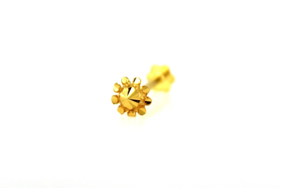 22ct 916 Yellow Gold  Round  Screw Nose Stud  NSS36