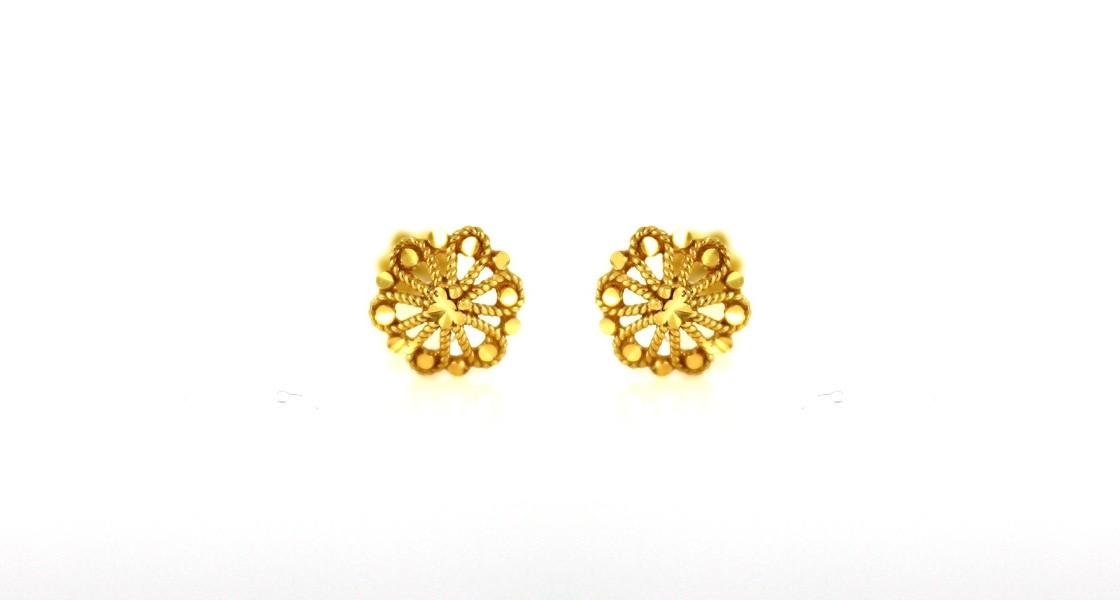22ct 916 Yellow Gold Round Small Kids Baby Stud Earrings  SE86