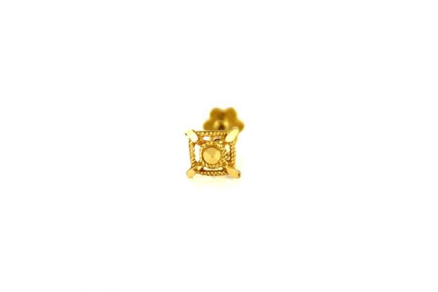 22ct 916 Yellow Gold Square Screw Nose Stud  NSS38
