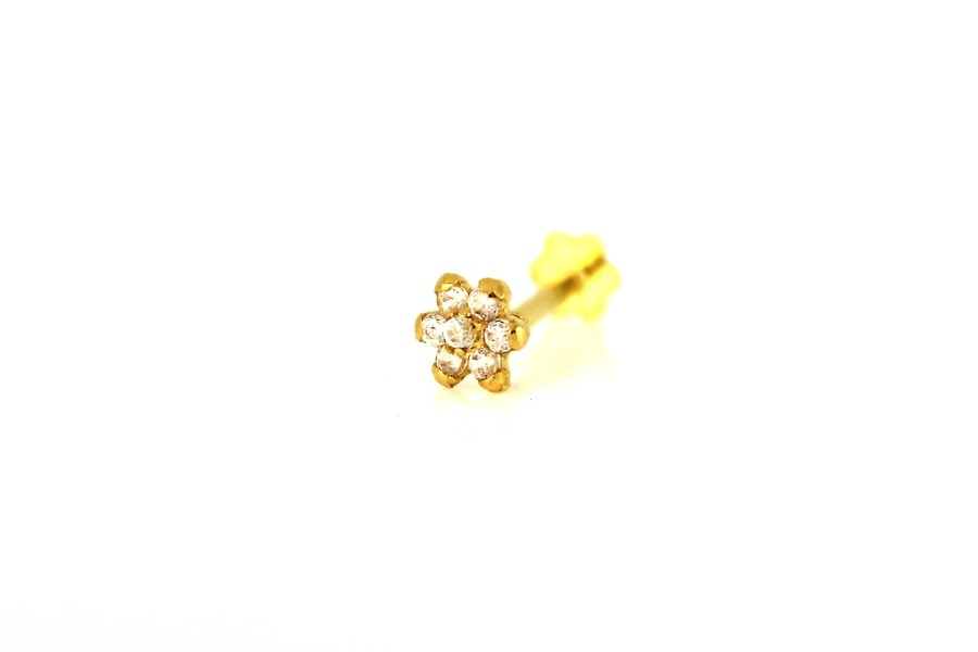 22ct 916 Yellow Gold Round Flower Screw with White CZ Stones  NSS39
