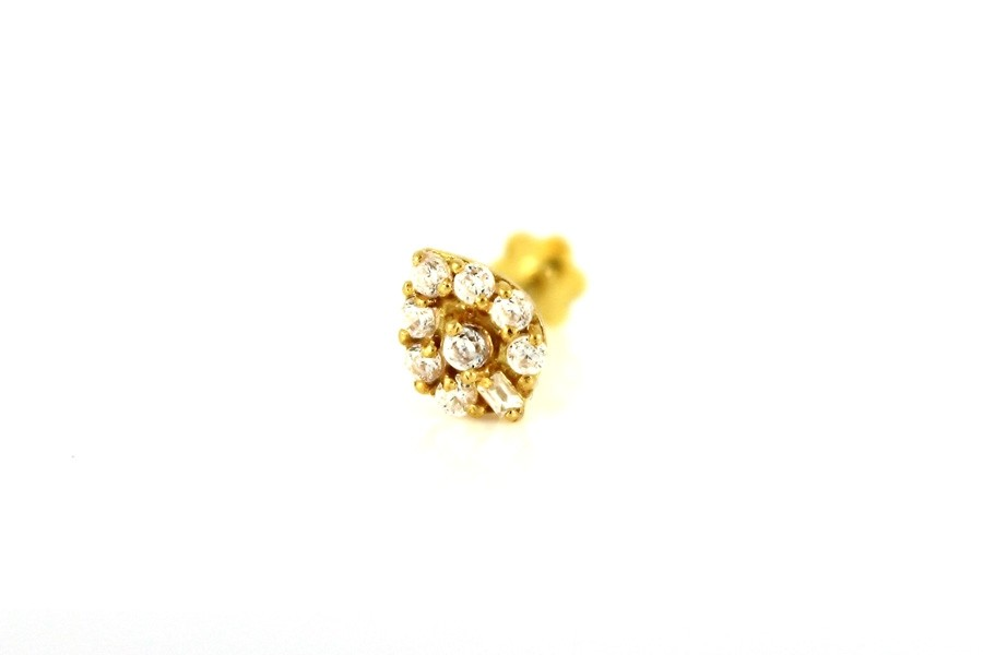 22ct 916 Yellow Gold Teardrop Screw with White CZ Stones  NSS40