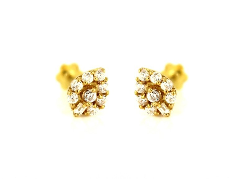 22ct 916 Yellow Gold Small Kids Baby Stud Teardrop Earrings CZ SE87