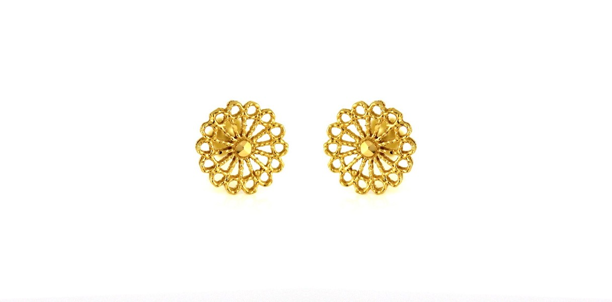 22ct 916 Yellow Gold Round Small Kids Baby Stud Earrings SE88