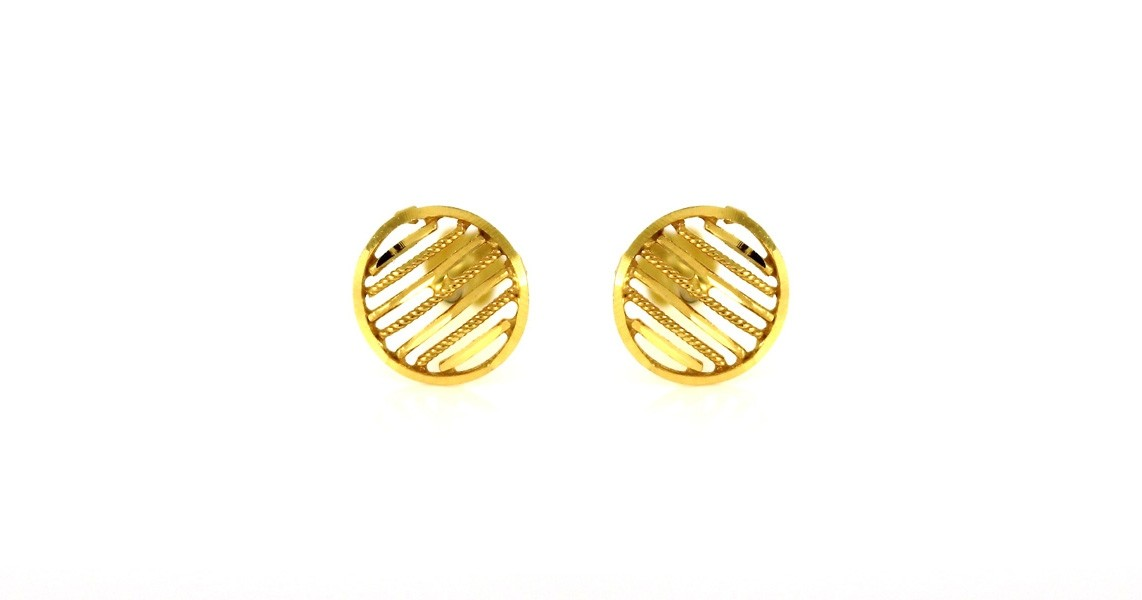 22ct 916 Yellow Gold Round Oval Small Kids Baby Stud Earrings SE89