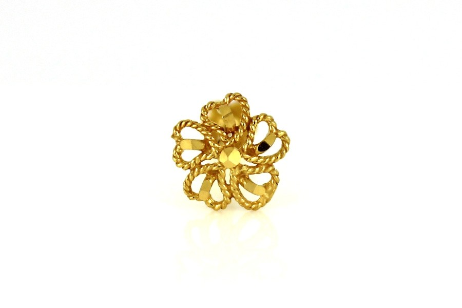 22ct 916 Yellow Gold Flower Heart Big Screw Nose Stud  NSS43